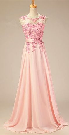Applique Pink 2015 Long Prom Dresses Elegant Fashional Zipper Party Gowns. 2015 long prom dress, new formal dresses, chiffon evening dresses,