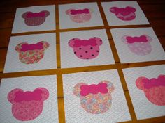 Set of 9 Baby Pink Minnie  Mouse Quilt Top Blocks  ...Free Shipping.... $13.95, via Etsy.