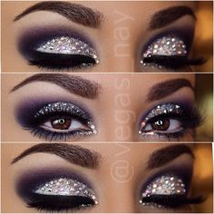 Intense purple smokey eyes bejeweled with Swarovski crystals over a glitter cut crease by @Vegas_Nay.