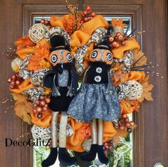 Orange Burlap Fall Wreath with MR. and MRS. OWL by decoglitz