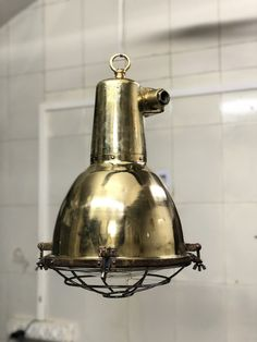 Authentic Old Salvage Nautical Brass Smooth Cargo Pendant/Hanging/Ceiling Light