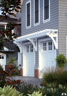 Garage Door Skin - Pergola Over Garage Door. Read more about Garage Doors Check the webpage to learn more. Garage House, Garage Door Trim, Garage Door Makeover, House Front, Garage Gate, Dream Garage, Painted Garage Doors, Sliding Garage Doors, Exterior Paint
