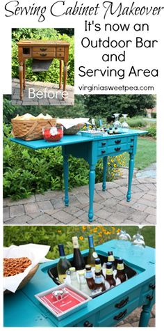A former sewing cabinet is now an outdoor bar and serving area. This would be great for a deck, porch, or patio. virginiasweetpea.com
