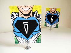 PRINTABLE Superhero Comic Wedding Table Numbers, 5x7, Set of 6, #superhero #wedding #decoration