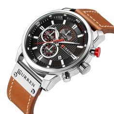 Cool Watches: Promo Offer New Watches Men Luxury Brand CURREN Chronograph Men Sport Watches High Quality Leather Strap Quartz Wristwatch Relogio Masculin Casual Watches, Cool Watches, Watches For Men, Wrist Watches, Gps Watches, Fashion Casual, Mens Fashion, Luxury Fashion, Fashion Top