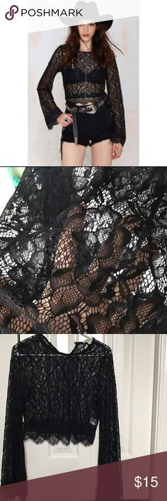 Nasty Gal - Long sleeve black lace crop top Purchased from Nasty Gal, brand is Cotton Candy. Worn once, perfect condition. Size small Nasty Gal Tops Crop Tops