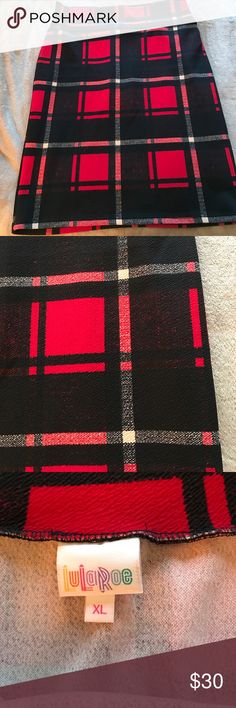 EUC XL Lularoe Plaid Cassie Only worn a couple of times.  Excellent condition.  This is a stretchy jersey material.  🚫 no trades please 🚫.  Willing to consider any reasonable offers! LuLaRoe Skirts Pencil