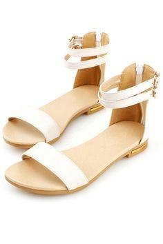 Peep Toe Double Pin Buckle Sandals OASAP.com