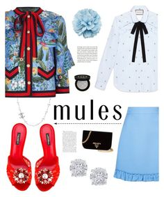"""mules"" by heloisacintrao ❤ liked on Polyvore featuring Chanel, Gucci, Dolce&Gabbana, Prada, Effy Jewelry, red, dolceandgabbana, gucci and mules"