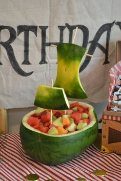Check out this watermelon pirate ship filled with fruit!  See more party ideas at CatchMyParty.com!
