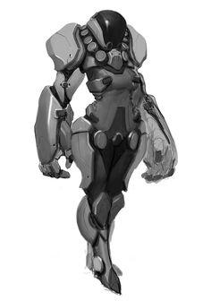 Exo-suit sketch, Trung Nguyen on ArtStation Robot Concept Art, Armor Concept, Character Concept, Character Art, Rpg Cyberpunk, Arte Robot, Futuristic Armour, Cool Robots, Sci Fi Armor