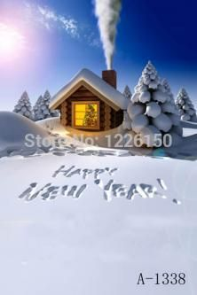 >> Click to Buy << 10t x 10ft (3 x3M) christmas vinyl photo backdrop, Photography backdrop A- 1338,  Happy New Year cabins cloth painted backdrops #Affiliate