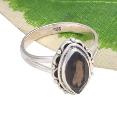 STUNNING 925 SOLID STERLING SILVER SMOKEY CUT RING 3.20g DJR3692 #Handmade #Ring