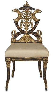 Currey Company Nefret Chair * Empire Revival Period Reproduction * Crafted of Mahogany * Gold Metal Leaf Accents * Black Distressed Finish * Hand Carved * Ecru Linen Fabric Dimensions: X X Fine Furniture, Accent Furniture, Furniture Chairs, Residential Lighting, Take A Seat, How To Distress Wood, Decoration, Home Furnishings, Accent Chairs