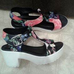 Floral heels Wore Once New Condition Forever 21 Shoes Heels