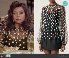 Cookie's sheer polka dot blouse on Empire Queen Fashion, Star Fashion, Fashion Outfits, Tv Show Outfits, Cute Outfits, Business Chic, Polka Dot Blouse, Cookie Lyon, Types Of Fashion Styles