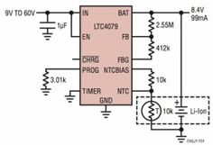 Monolithic linear battery charger operates from inputs up to 60V