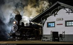 Cass Night Watch. Night hostlers keep the 90-ton Meadow River Heisler #6 ready for duty as she sits in front of the C&O Depot in the logging town of Cass, WV. Lighting provided by the Mountain State Railroad & Logging Historical Association. Photo by Kevin Madore. 5/17/14 http://www.railpictures.net/viewphoto.php?id=482365