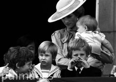 June 15, 1985: Princess Diana with members of the Royal Family on the balcony at Buckingham Palace for Trooping the Colour in London.