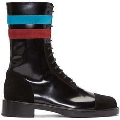 Raf Simons Black Stripes Boots ($1,160) ❤ liked on Polyvore featuring men's fashion, men's shoes, men's boots, black, mens leather sole shoes, mens black lace up boots, mens lace up boots, mens zip boots and mens black shoes