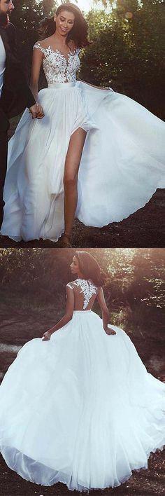 Chiffon Jewel Neckline A-line Wedding Dress With Lace Appliques WD252 #weddingdress #dress #lace #chiffon #pgmdress #wedding #aline