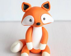 Baby Fox Clay Cake topper and keepsake - perfect for woodland theme baby shower or first birthday, animal polymer clay ornament figurine