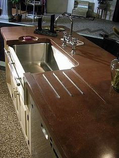 . An Integral Drain Board Was Cast Into The Countertop. The Backsplash And  Window Sill Are Also Cast Concrete In The Same Brick Red Color Love Theu2026