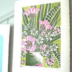 Vase of Flowers Lino Print.
