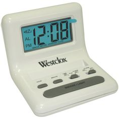 WESTCLOX 47539 White LCD Alarm Clock with Light on Demand LCD display ; Light on demand; Compact design with angled case; Travel Alarm Clock, Radio Alarm Clock, Alarm Set, Brown Wall Clocks, Home Security Alarm System, Security Tips, Security Systems, Security Camera, Tabletop Clocks