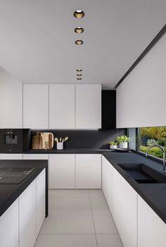Black and White Kitchen. 20 Black and White Kitchen. Black and White Kitchen Ideas Modern Kitchen Interiors, Luxury Kitchen Design, Best Kitchen Designs, Interior Design Kitchen, White Interiors, Modern Interior, Interior Decorating, Coastal Interior, Decorating Ideas