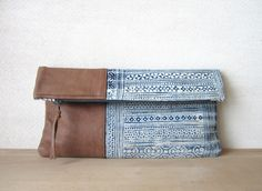 Fold Over Clutch Bag - Vintage Batik and Upcycled Leather