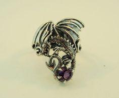 Silver Magic Dragon Ring With Gemstone. $245.00, via Etsy.