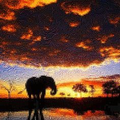 'Elephant at Sunset', a photo tile mosaic at TileArray