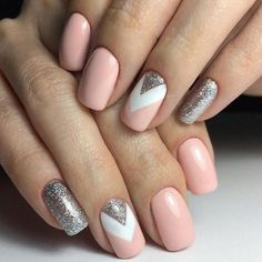 Try this style with polish from Dollar Tree. Geometric nails, Glitter nails, June nails, Pale pink nails, Pink nail polish with sparkles