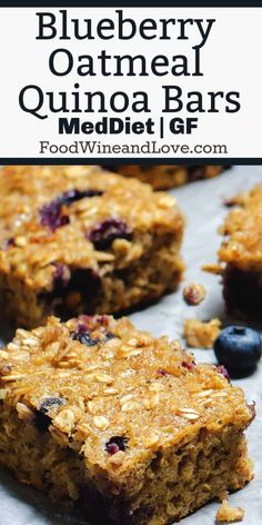 Blueberry Oatmeal Quinoa Bars, These healthy bars are the perfect snack or on the go meal idea. This vegan recipe is easy and delicious! Quinoa Oatmeal, Quinoa Bars, Wine Recipes, Vegan Recipes, Dessert Recipes, Quinoa Dessert Recipe, Vegan Blueberry Recipes, Quinoa Desserts, Diabetic Desserts