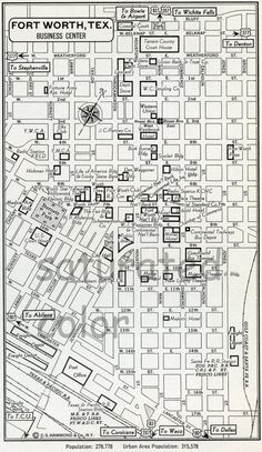Fort Worth, Texas TX Map - Vintage 1950s Original Heart of Fort Worth, TX - Cow Town - Wonderful Old Landmarks Details