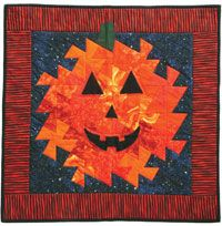 """Shaky Jack Quilt Pattern A cute seasonal wall hanging quilt pattern to make with a """"lil' Twister"""" template (purchase separately here) and easy fusible applique. Finished Size: x Skill Level: Advanced Beginner Halloween Quilt Patterns, Halloween Quilts, Halloween Fabric, Halloween 2, Halloween Projects, Mug Rug Patterns, Modern Quilt Patterns, Quilting Patterns, Hanging Quilts"""