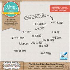 LIP: Old School Rubber Date Stamps - $1.77 : Peppermint Creative, Digital Scrapbook Supplies