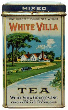 White Villa Tea vintage tea tin, from White Villa Grocers of Cincinnati and Dayton, Ohio