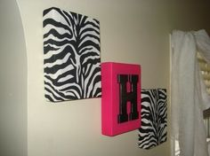 Mini Zebra Hot PInk Wall Hanging girls wall decor by MadMosaics, $29.00- maybe different fabric, but in the living room.... - Click image to find more DIY & Crafts Pinterest pins