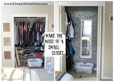 "Have a small Master Closet like we do? Make the most of it by rearranging and painting. (This is my husbands closet) ""Oh man.this is genius!"" said a reader when she saw this master closet idea: Amazing! This stunning masterpiece cost next to nothing! Small Master Closet, Deep Closet, Tiny Closet, Open Closets, Bedroom Small, Dream Closets, Front Closet, Closet Doors, Hall Closet"