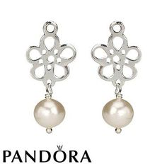 Pandora White Pearl Drop Flower Earring Charms 80534