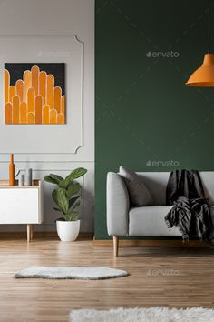 Buy Dark green wall in grey and orange living room interior by bialasiewicz on PhotoDune. Dark green wall in grey and orange living room interior Grey And Orange Living Room, Mustard Living Rooms, Green Boys Room, Green Dining Room, Orange Rooms, Living Room Green, Living Room Interior, Living Room Color Schemes, Paint Colors For Living Room