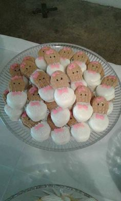 nutter butter babies with pink bows for baby shower