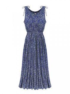 Plissee Vintage Blumen Maxi-elastische Taillen-Frauen Ärmelloses Kleid