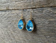 Teardrop Aquamarine Earrings Swarovski Crystal Pear Dangle on Silver or Gold French Wire Hook by haileyallendesigns