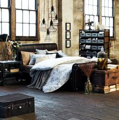 Industrial design bedrooms! Quarto estilo brutalista