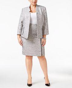 349b1b526bd Kasper Plus Size Tweed Blazer   Pencil Skirt Women - Wear to Work - Macy s