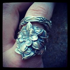 Wide Columbine Spoon Ring in Sterling Silver Floral by Spoonier