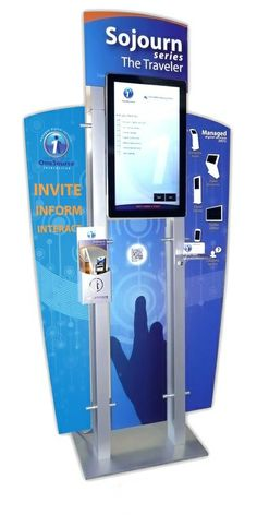 "Trade Show Survey Kiosk, The Sojourn Series Standard ""URway"" Modular Kiosk w/ TR Touch Screen. Actually using a kiosk at a kiosk show, CETW 2012 Digital Kiosk, Digital Retail, Digital Signage, Kiosk Design, Video Wall, Phone, Mat, Indoor, Touch"